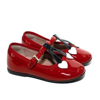 Gucci Children's Patent Leather Red Pumps with Cherry