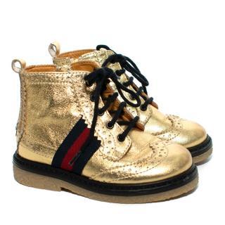 Gucci Gold Brogue Detail Web Stripe Kid's Boots