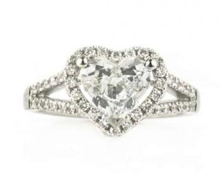 Bespoke Diamond Heart Shape Ring in 18kt White Gold