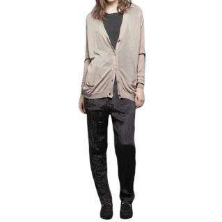 Acne Silk Blend Sand Relaxed Fit Cardigan