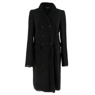 Joseph Black Lambskin & Shearling Double-breasted Coat