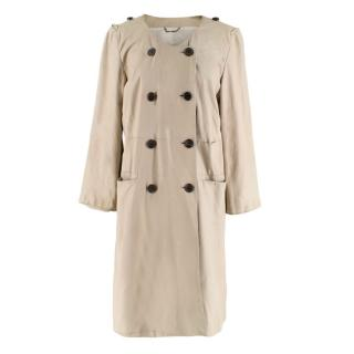 Strenesse Beige Leather Double-Breasted Coat