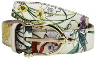 Gucci White Floral Leather Belt - Size 80