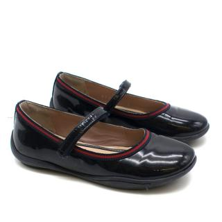 Gucci Children's Patent Black Leather Ballet Flats
