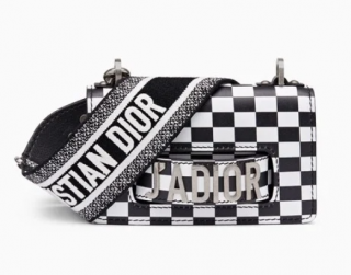 Dior Checkered Print J�adior Flap Bag with Embroidered Canvas Strap