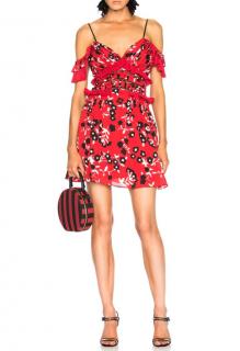 Self Portrait Cold-shoulder floral-print crepe mini dress