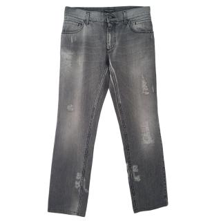 Dolce & Gabbana Grey Distressed Jeans
