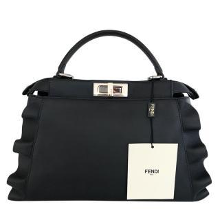 Fendi Navy Blue Wavy Peek-A-Boo Tote Bag