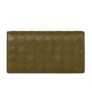 Bottega Veneta mud woven intrecciato leather continental wallet