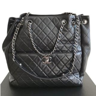 Chanel Black Quilted Lambskin Bucket Bag