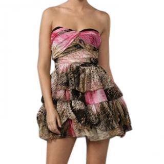 Diane Von Furstenberg Print Silk Chiffon Mini Dress