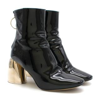 Ellery Black Patent Leather Heeled Ankle Boot with Gold Heel