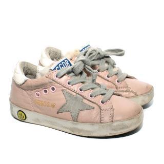 Golden Goose Kid's Pink Distressed Superstar Sneakers