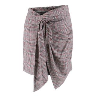 Isabel Marant Kim Houndstooth Check Mini Skirt with Wrap Tie