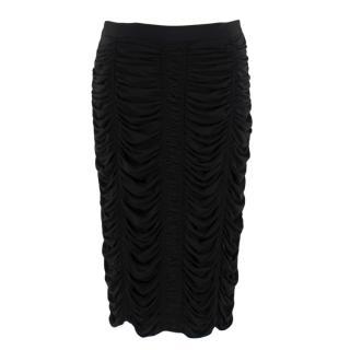 Burberry Black Ruched Midi Skirt