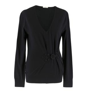 Prada V-Neck Wool Sweater with Embroidered Detail