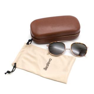 Illesteva Mykonos Ace Gold Tone Sunglasses