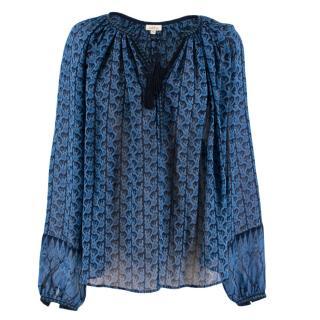 Talitha Blue Silk Summer Sheer Floral Blouse