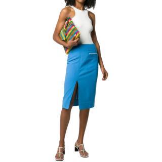 Kwaidan Editions Front Slit Blue Wool-Blend Midi Skirt
