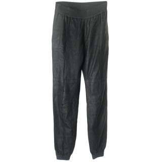 Joseph Black Leather Joggers