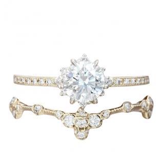 Kataoka Beige Gold Diamond Solitaire & Diamond Wedding Rings