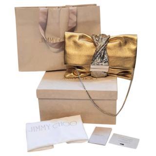 Jimmy Choo Metallic Gold Chandra Embellished Bag