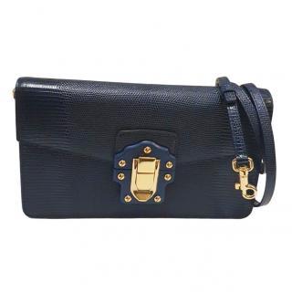 Dolce & Gabbana Lucia Blue Lizard Effect Shoulder Bag