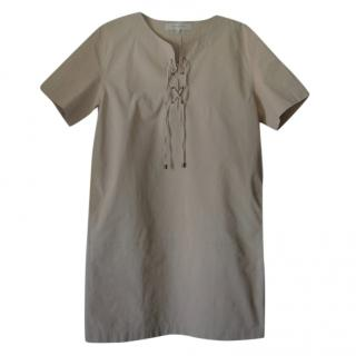 Gerard Darel Beige Lace-Up Shift Dress