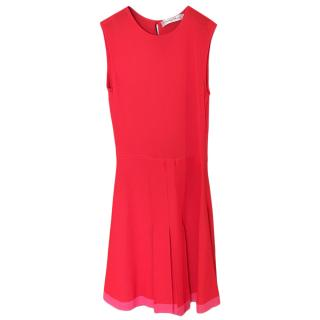 Christian Dior Red Sleeveless Dress with Pink Trim