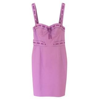 Christian Dior Lilac Grosgrain Trim Sleeveless Dress