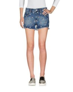Zoe Karssen Eye-Print Distressed Denim Shorts