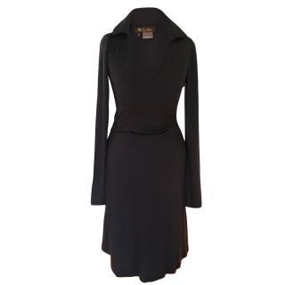 Loro Piana lightweight black cashmere wrap dress