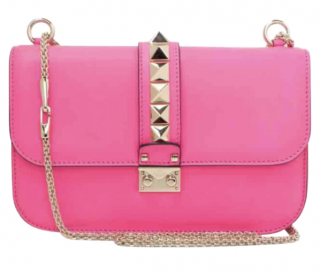 Valentino Pink Rockstud Glam Lock Shoulder Bag
