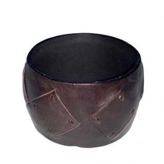 Bottega Veneta Brown Leather Cuff