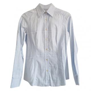Etro Pale Blue Cotton Embroidered Shirt