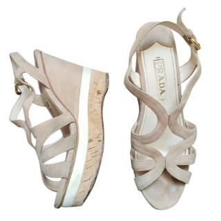 Prada Suede Cut-Out Wedge Sandals