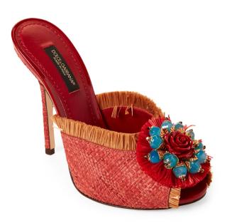 Dolce & Gabbana Raffia Embellished Mules