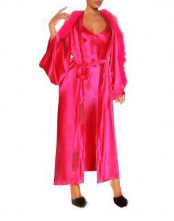 Maguy de Chadirac Silk Kimono Gown with Marabou Feather Trim