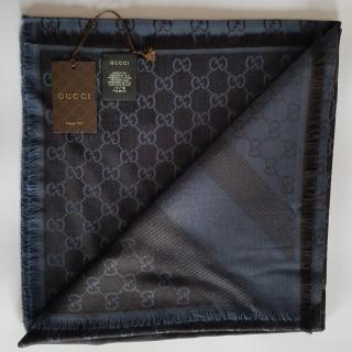 Gucci Navy Reversible Monogram Silk & Wool Scarf