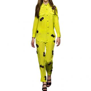 House of Holland Yellow Floral Embellished Shirt