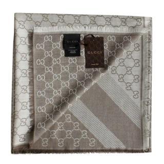 Gucci Grey Reversible Monogram Silk & Wool Scarf