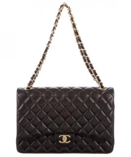 Chanel Black Lambskin Maxi Double Flap Bag