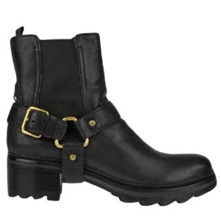 Prada Black Leather Buckle Detail Boots