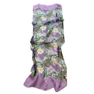Giorgio Armani Floral Print Purple Silk Scarf