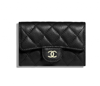 Chanel Grained Calfskin & Silver-Tone Metal Classic Card Holder