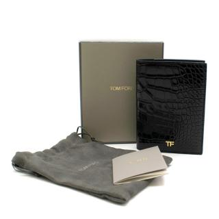 Tom Ford Black Shiny Alligator Passport Holder