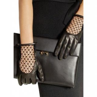 Gucci Black Leather & Mesh Gloves