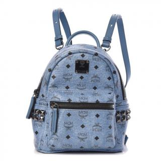 MCM Visetos Side Stud Mini Stark Backpack in Blue