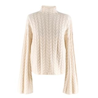 Theory Cream Horseshoe Cable Neck Light Cashmere Sweater
