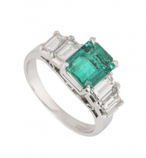 Bespoke 18k White Gold Emerald & Diamond Ring